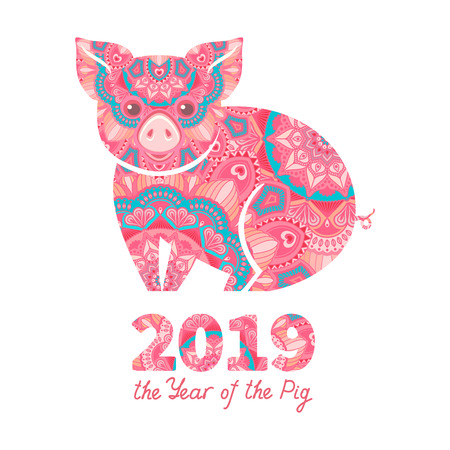 Pig is a symbol of the 2019 Chinese New Year. Decorative ornamented zodiac sign Pig on white background Stock Vector - 105514937