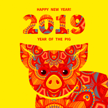 Pig is a symbol of the 2019 Chinese New Year. Decorative ornamented zodiac sign Pig on yellow background  イラスト・ベクター素材