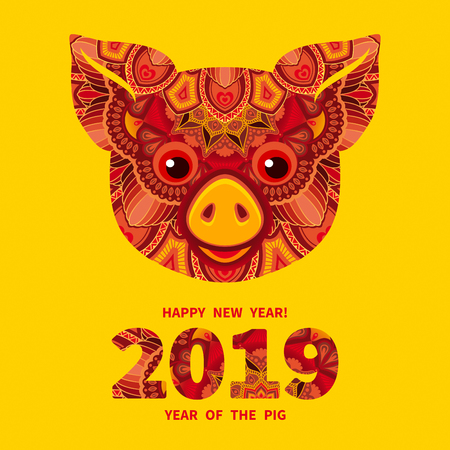 Pig is a symbol of the 2019 Chinese New Year. Decorative ornamented zodiac sign Pig on yellow background Illustration