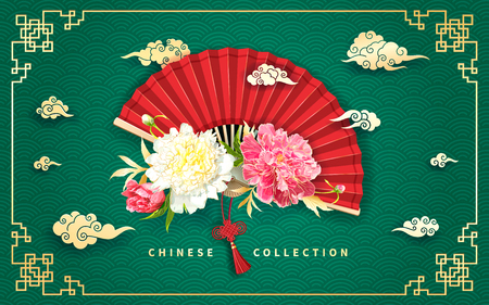 Oriental background with light yellow and pink peonies flowers, decorative golden chinese clouds and red fan Ilustracja