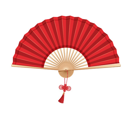 Red Chinese hand fan with wishful knot isolated on white background