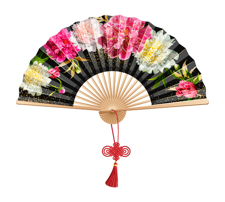 Chinese fan with a pattern of pink peonies and gold sequins on black. Isolated on white background. On the handle of the folding fan red wishful knot