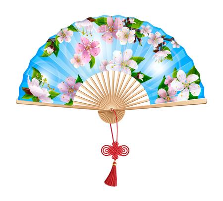 Ventilatore cinese con un motivo di fiori rosa sakura primaverili su cielo blu. Sul manico del ventaglio pieghevole nodo pio desiderio rosso. Isolato su sfondo bianco. Vettoriali