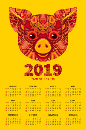 Calendar 2019. Pig is a symbol of the 2019 Chinese New Year. Decorative ornamented zodiac sign Pig on yellow background Archivio Fotografico - 107313476