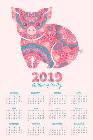 Calendar 2019. Pig is a symbol of the 2019 Chinese New Year. Decorative ornamented zodiac sign Pig on light pink background Archivio Fotografico - 107313477