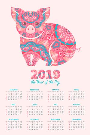Calendario 2019. Il maiale è un simbolo del capodanno cinese 2019. Segno zodiacale ornato decorativo maiale su sfondo rosa chiaro Vettoriali