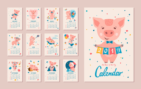 Monthly Calendar. Pig is a symbol of the Chinese 2019 New Year. Cute cartoon piggy in different situations. Week starts on monday. Vector illustration Archivio Fotografico - 111823618
