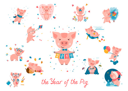 Big set of Cute cartoon piggies in different situations and poses on white background. Pig is a symbol of the 2019 Chinese New Year. Vector illustration