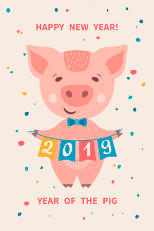 Greeting card with cute cartoon piggy holding garland of flags with numbers 2019. Pig is a symbol of the 2019 Chinese New Year. Vector illustration