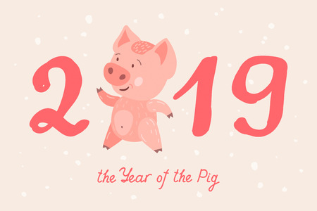 Greeting card with cute cartoon piggy. Pig is a symbol of the 2019 Chinese New Year. Vector illustration  イラスト・ベクター素材