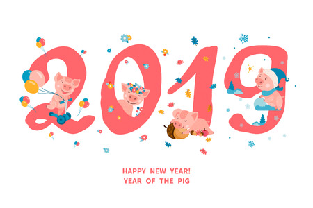Greeting card with four cute cartoon piggies, symbol of the 2019 Chinese New Year. Each pig corresponds to the season of the year spring, summer, autumn, winter. Vector illustration