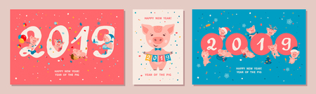 Set of three Greeting cards with cute cartoon piggies. Pig is a symbol of the 2019 Chinese New Year. Vector illustration
