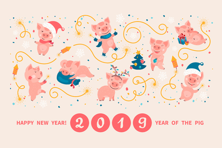 Greeting card with cute cartoon pigs, symbol of 2019 Chinese New year. Piglets in Santa s hats and mittens cheerfully celebrating, decorating the Christmas tree, preparing gifts, lighting sparkler
