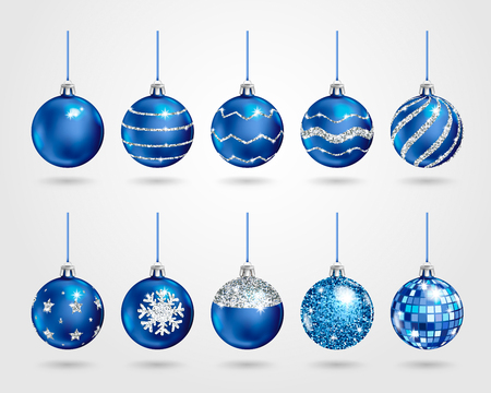 Set of realistic blue Christmas balls with different patterns of silver sequins. Vector illustration  イラスト・ベクター素材
