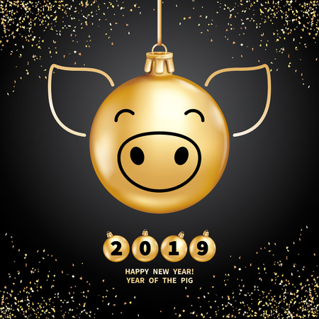 Pig is a symbol of the 2019 Chinese New Year. Realistic golden glass balls with pigs muzzle, brighting sequins on a black background. Decorative Christmas design elements. Vector illustration Illustration