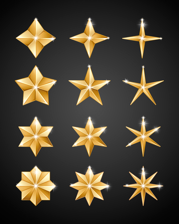 Set of realistic metallic golden stars of different shapes isolated on a black background Stock Illustratie
