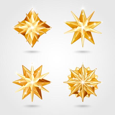 Ensemble de quatre étoiles dorées métalliques réalistes de Noël de différentes formes