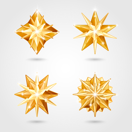 Set of four Christmas realistic metallic golden stars of different shapes Illustration