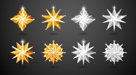 Set of realistic metallic golden and silver Christmas stars of different shapes isolated on a black background Illustration