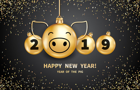 Pig is a symbol of the 2019 Chinese New Year. Realistic golden glass balls with pigs muzzle, brighting sequins on a black background. Decorative Christmas design elements. Vector illustration  イラスト・ベクター素材
