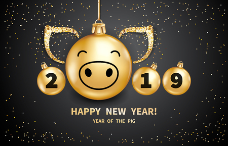 Pig is a symbol of the 2019 Chinese New Year. Realistic golden glass balls with pigs muzzle, brighting sequins on a black background. Decorative Christmas design elements. Vector illustration Stockfoto