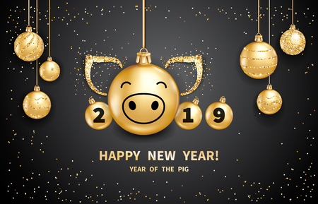 Pig is a symbol of the 2019 Chinese New Year. Realistic golden glass balls with pigs muzzle, brighting sequins on a black background. Decorative Christmas design elements. Vector illustration Ilustracja