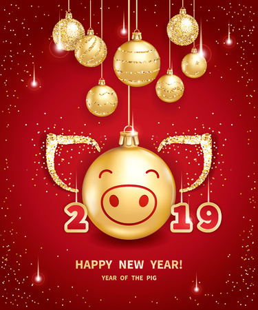 Pig is a symbol of the 2019 Chinese New Year. Realistic golden glass balls with pigs muzzle, brighting sequins on a red background. Decorative Christmas design elements. Vector illustration