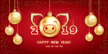 Pig is a symbol of the 2019 Chinese New Year. Realistic golden glass balls with pigs muzzle, brighting sequins on a red background. Horizontal banner with Christmas design elements