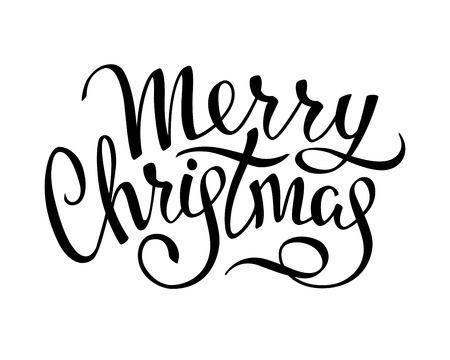 Merry Christmas hand drawn lettering isolated on white background. Calligraphic inscription. Vector illustration.