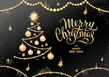 Merry Christmas greeting card or banner template with Handwritten lettering on a black background. Decorative Christmas tree with realistic golden glass balls, stars and sequins. Vector illustration