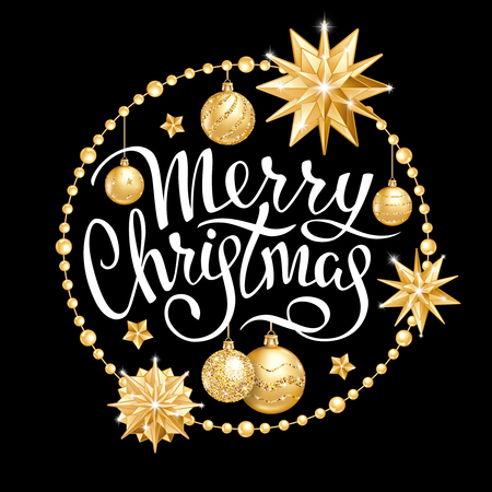 Inscription Merry Christmas in round frame with realistic golden Christmas balls, stars and sequins. Handwritten elegant lettering on a black background. Vector illustration Ilustracja