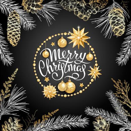 Cartolina di Natale con palline dorate realistiche, stelle in cornice rotonda. Schizzo di diversi rami di abete, cedro, pino, biancospino e coni su sfondo nero. Lettere eleganti