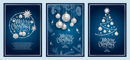 Set of three card Merry Christmas and Happy New Year. Christmas tree, silver glass balls, stars, sequins and elegant lettering on blue background. Sketch of branches fir tree, cedar, pine and cones Imagens - 111197595
