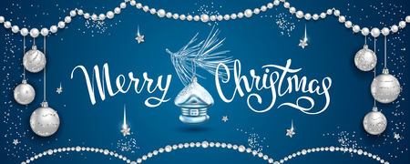 Horizontal banner with elegant lettering Merry Christmas, fur-tree branch with glass tree-toys house, realistic silver balls, stars, sequins on blue background. Element for New Years Design