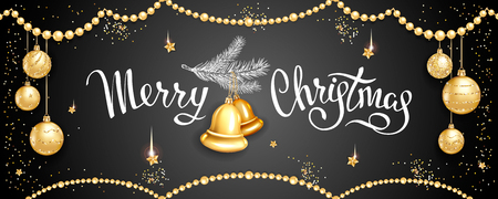 Horizontal banner with inscription Merry Christmas, fur-tree branche with glass tree-toys bells, realistic golden balls, stars, sequins on black background. Elegant lettering