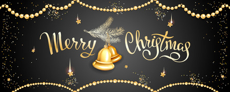 Horizontal banner with inscription Merry Christmas, fur-tree branche with realistic golden glass tree-toys bells, stars, sequins on black background. Elegant lettering