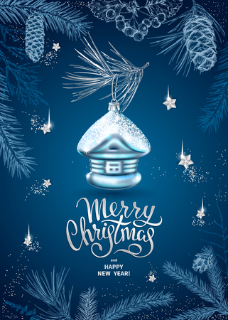 Merry Christmas and Happy New Year card with realistic glass christmas tree toy. Decoration in the shape of a house. Sketch of different branches of fir tree, cedar, pine, cones on blue background.