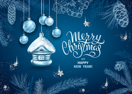 Merry Christmas and Happy New Year card with realistic glass christmas tree toy. Decoration in the shape of a house, balls. Sketch of different branches of fir tree, cedar, pine on blue background