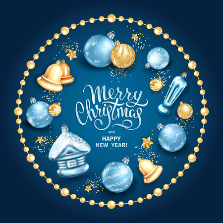 Merry Christmas and Happy New Year card with realistic glass christmas tree toys different shapes balls, house, bells in golden round frame with stars, sequins. Elegant lettering on a blue background