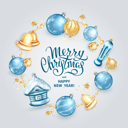 Merry Christmas and Happy New Year card with realistic glass christmas tree toys different shapes balls, house, bells in golden round frame with stars, sequins. Elegant lettering on a light background