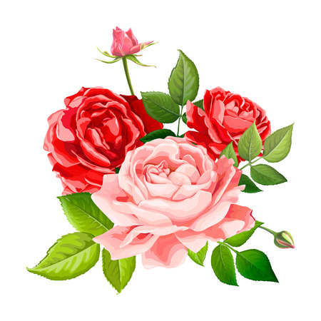 Beautiful bouquet flowers of red and scarlet blooming roses with leaves and buds, isolated on a white background. Lovely floral design element. Vector illustration in watercolor style Illustration