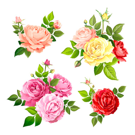 Set of beautiful bouquets flowers of red, pink, yellow and gentle peach blooming roses with leaves and buds, isolated on a white background. Floral design elements. Vector illustration in watercolor style