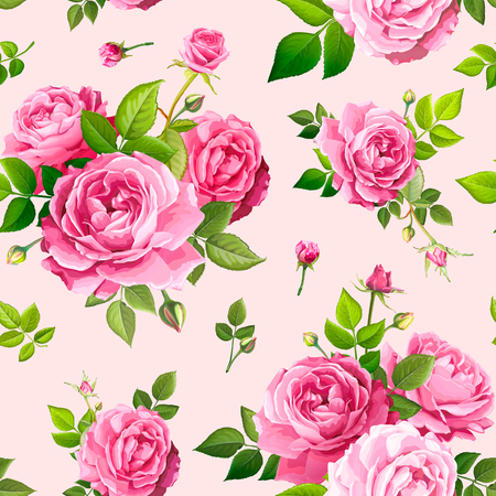 Beautiful spring or summer seamless pattern with bouquets flowers of pink blooming roses, green leaves and buds on a light pink background. Lovely floral design element of textile. Vector illustration