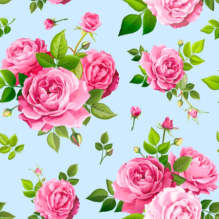 Beautiful spring or summer seamless pattern with bouquets flowers of pink blooming roses, green leaves and buds on a light blue background. Lovely floral design element of textile. Vector illustration Çizim
