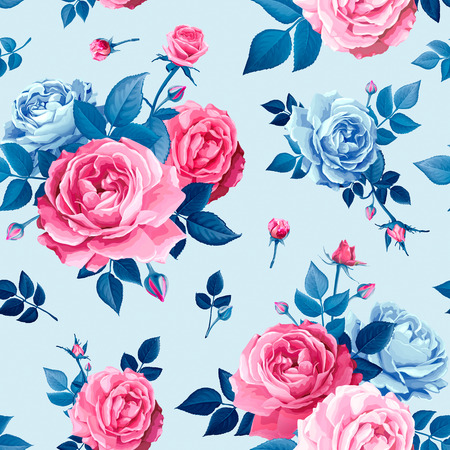 Beautiful spring or summer seamless pattern with bouquets flowers of pink blooming roses, blue leaves and buds on a light blue background. Lovely floral design element of textile. Vector illustration Illustration
