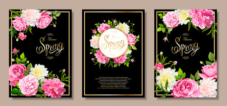 Set of three floral backgrounds with blooming flowers of pink and light yellow peonies, lovely roses, buds, green leaves on a black background. Golden Inscription Spring in frame