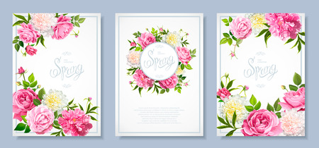 Set of three floral backgrounds with blooming flowers of pink and light yellow peonies, lovely roses, buds, green leaves. Inscription Spring Vectores