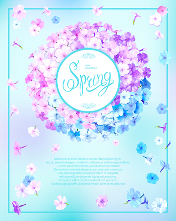 Beautiful floral background with blooming flowers of pink, lilac and light blue phloxes. Inscription Spring in round frame on pastel sky blue background. Vector illustration Stock fotó - 126583044