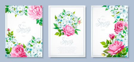 Set of three luxury floral backgrounds with blooming flowers of light-blue phloxes, lovely pink roses, buds, green leaves. Inscription Spring in frame. Vector Illustration