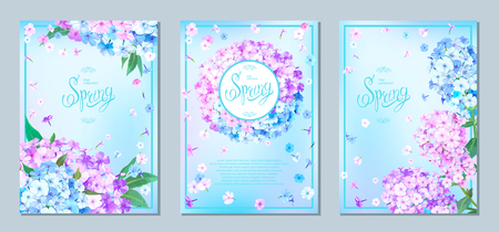 Set of three luxury floral backgrounds with blooming flowers of light-blue, pink and lilac phloxes and green leaves. Inscription Spring in frame on pastel sky blue background. Vector Illustration Stock fotó - 126413068
